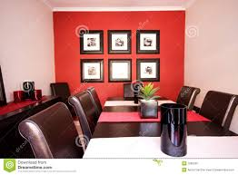 dining room interior with red wall stock photography image 7585232