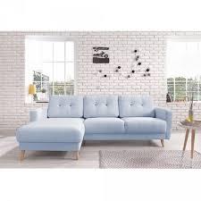 canap d angle scandinave canapé d angle 4 places scandinave bleu poudré salon mobilier gifi