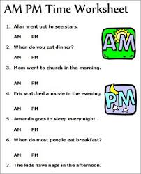 am pm telling time worksheets good concept for assessing students