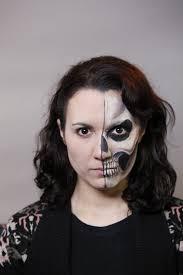 half skull mask halloween half face skull halloween makeup video tutorial u2013 halloweenmakeup com