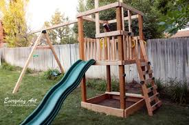 How To Build A Backyard Swing Diy Wooden Swing Set By Everyday Art This With Monkey Bars