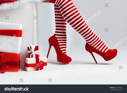 santa woman legs christmas gifts christmas stock photo 524581654