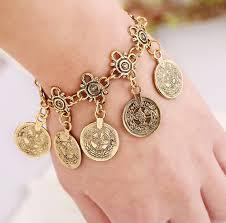 metal bracelet charms images Charms coin bracelet femme antic silver gold color vintage metal jpg