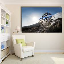 qk art home decor motorcycle stones extreme yamaha dark blue wall