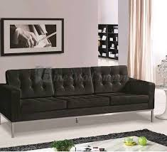 Leather Button Sofa 50 S Modernist 3 Seat Black Leather Button Sofa In Aberdeen