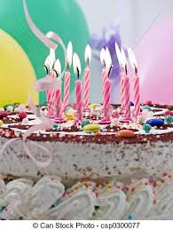 picture of birthday cake with eleven burning candles balloons at