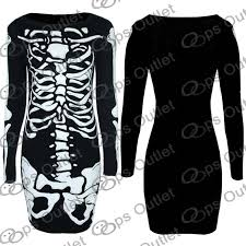 Ladies Skeleton Halloween Costume by Womens Ladies Skeleton Halloween Tshirt Jumper Sweatshirt Midi