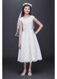 communion gowns appliqued satin communion dress with beaded trim david s bridal