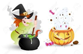 funny halloween characters witch and ghost royalty free cliparts
