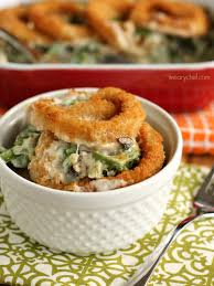 green bean casserole with rings the weary chef