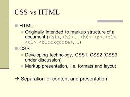 html layout under cascading style sheets part 1 css vs html html originally intended