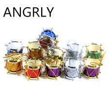 12 pcs bag 3cm laser small drum ornament colorful mini