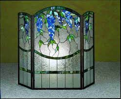 fetching stained glass fireplace screen by wisteria fireplace