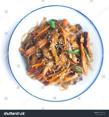 cha e cuisine cuisine named jabchae ready serve stock photo 734001556