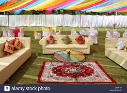 empty venue indian wedding reception decoration india asia stock