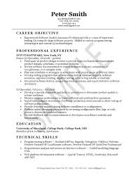 Job Objective In Resume by Quality Assurance Resume Example Resume Examples Job Search And