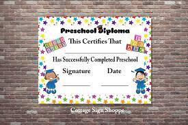 preschool certificates preschool diploma preschool certificate digital you print
