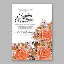 orange red rose floral wedding invitation printable gold bridal