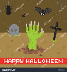 happy halloween pixel art card stock vector 218845360 shutterstock