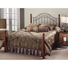 Metal And Wood Furniture Hillsdale Martino Cherry Wood And Metal Bed Hayneedle