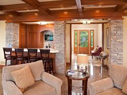 ceiling lighting recessed home bar stacked stone box beam coffered