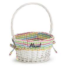 easter basket personalized kids easter basket white willow plaid liner