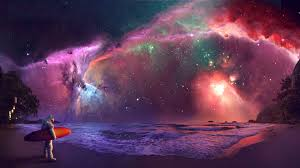 super colorful nebula beach space colorful surfer ocean wonderful great waves
