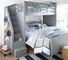 Bunk Beds With Stairs Gray Bunk Beds With Stairs Storage Drawers And Under Bed Storage