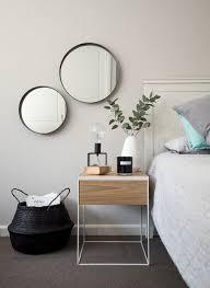 minimalist bedside table bed inspo black white monochrome grey minimalist scandinavia