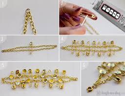 diy gold bracelet images Diy safety pin sequin bracelet high on diy jpg