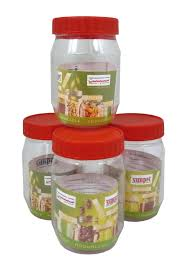 Red Kitchen Canisters by Sunpet Food Storage Canisters Plastic Red 300 Ml Small Pack