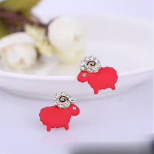 kids clip on earrings white and color enamel small sheep rhinestone clip