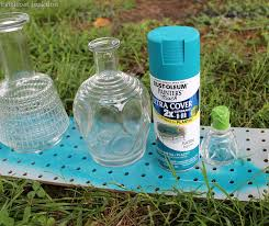 diy spray paint glass decanters for home decor petticoat junktion