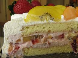chinese birthday cream cake with strawberry mousse filling and