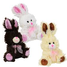stuffed bunnies for easter bulk chocolate scented plush bunnies with ribbons 6 5 in at