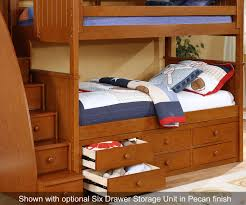chatham twin over full bunk bed with stairs in pecan allen house