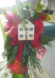 Christmas Mailbox Decoration Greenery by Red U0026 Lime Green Plaid Tied Around Mixed Greenery Christmas
