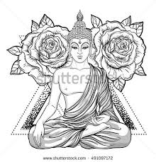 Sitting Buddha Over Sacred Geometry Esoteric Stock Vector Buddhist Coloring Pages