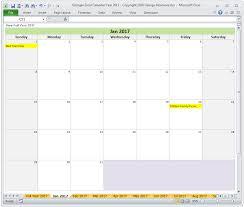 Excel Templates Calendar Year 2017 Excel Calendar Template Monthly Calendar Spreadsheet
