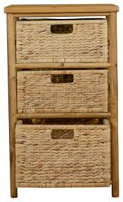 Storage Cabinet With Baskets Kala Open Sided Bamboo Storage Chest With 3 Hyacinth Storage