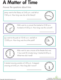 a matter of time worksheet education com