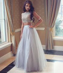 formal gown grey prom dress a line two pieces evening gown formal dresses