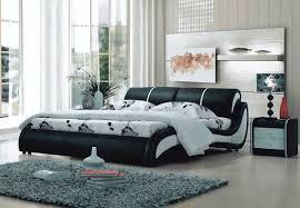 Modern Beds Modern Black And White Leatherette Bed Vg068 Platform Beds