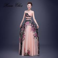 formal gown floral print chiffon evening dresses prom party gown