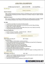 bookkeeper resume exles resume 2018 templates for bookkeeper 6 sles in word