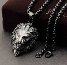 black charm necklace images Wholesale men 39 s 316l stainless steel biker black lion head pendant jpg