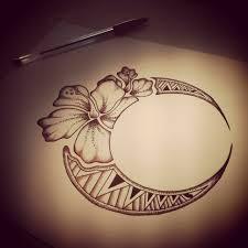 Polynesian Flower Tattoo - hawaiian flower moon tattoo design tatoos pinterest moon