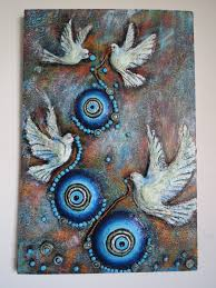 Home Decoration Handmade Birds With Beads 3d Handmade Handpainted Wall Art Relief