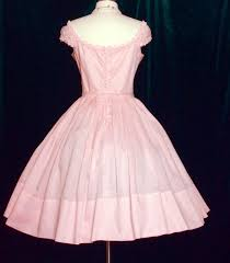 vintage 50s 1950s pink dress shelf bust unworn cocktail party