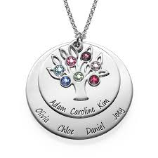personalized family tree necklace personalised family tree jewellery mothers birthstone necklace